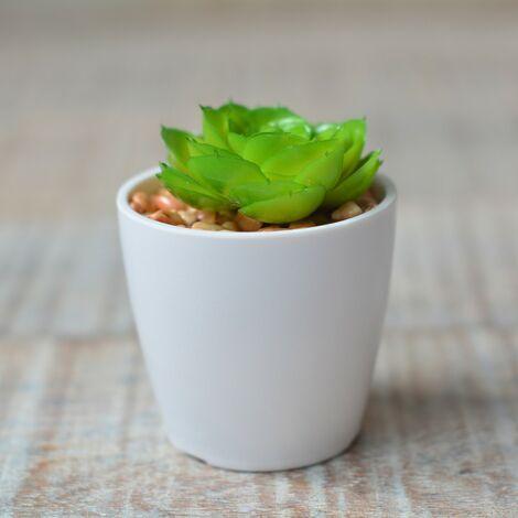Planta Cactus Artificial con Maceta de Cerámica Natural Color Blanco para Decoración