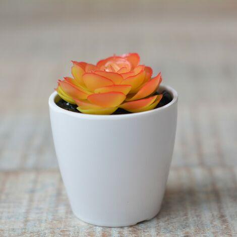Planta Cactus Artificial Naranja con Maceta Cerámica Natural Color Blanco para Decoración Hogar y Más