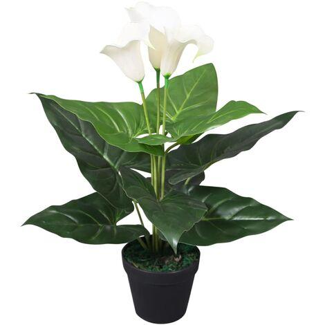 Planta cala lilly artificial con macetero 45 cm blanca