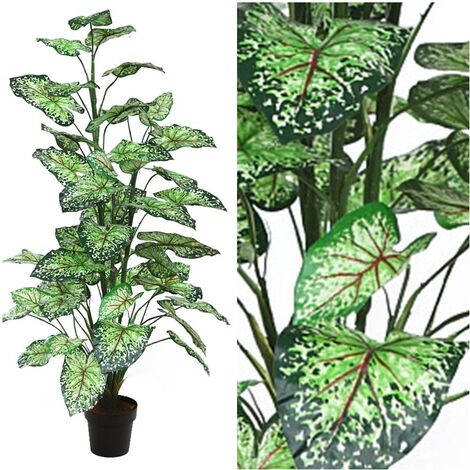 Planta Caladium Artificial en Maceta. Altura 106 Cm