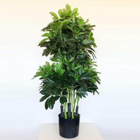 Planta Cheflera artificial de 110 cm de altura con maceta