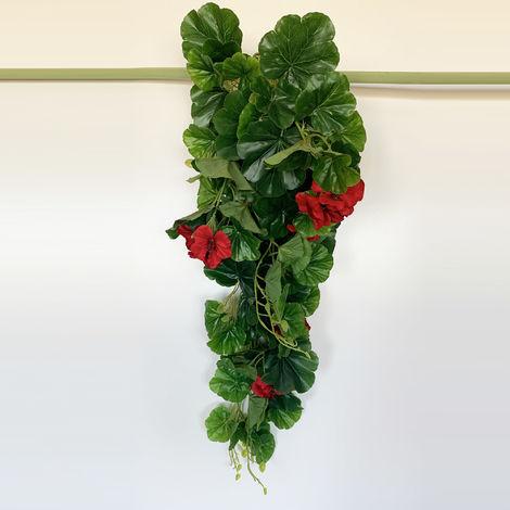 Planta colgante Geranio artificial de 80 cm en color rojo