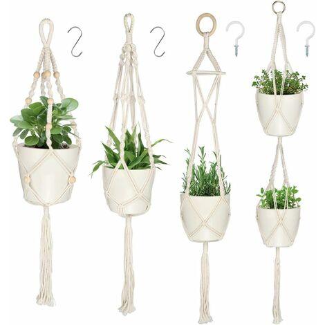 Planta colgante LITZEE, 4 piezas, maceta de cuerda de algodón, puerta de planta colgante, decoración de jardín interior al aire libre para decoración de jardín de balcón