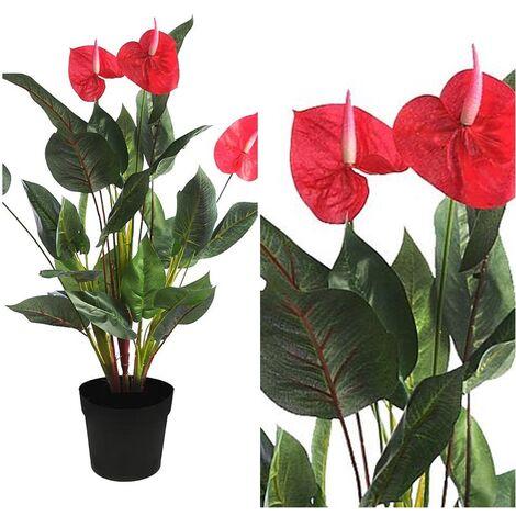 Planta de Anturio Artificial. Realista de Tela. Altura 61 Cm