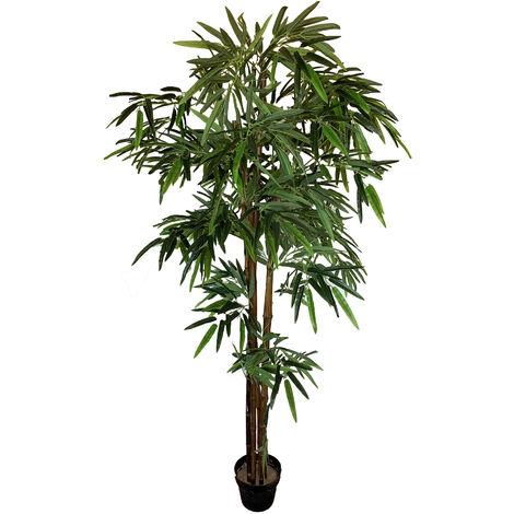 Planta de bambú artificial de 160 cm de altura con maceta