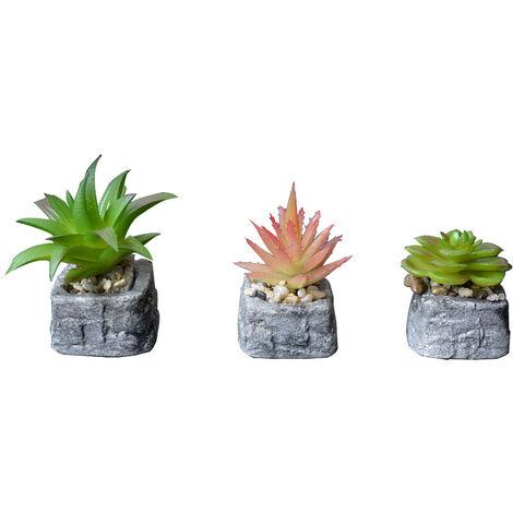 Planta de Cactus artificial inspiradora con maceta de piedra natural en Set Estilo Zen. - Hogar y más