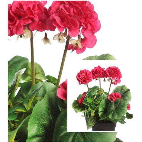 Planta de Geranio Artificial. Color Rosa. Altura 35 Cm
