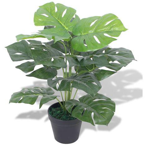 Planta de monstera artificial con maceta verde 45 cm