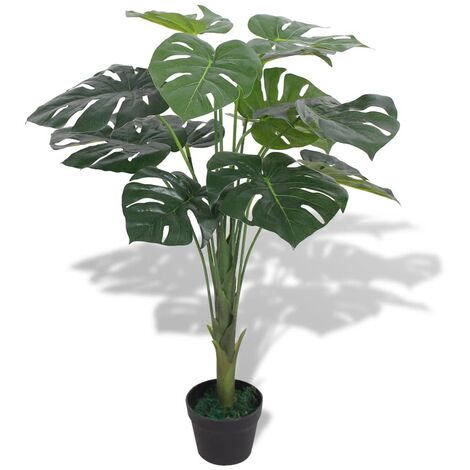 Planta de monstera artificial con maceta verde 70 cm