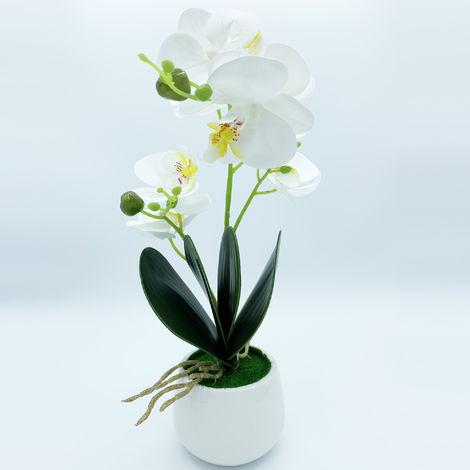 Planta de orquidea con tacto natural de 42 cm en color blanco con maceta de ceramica