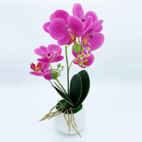 Planta de orquidea con tacto natural de 42 cm en color lila con maceta de ceramica