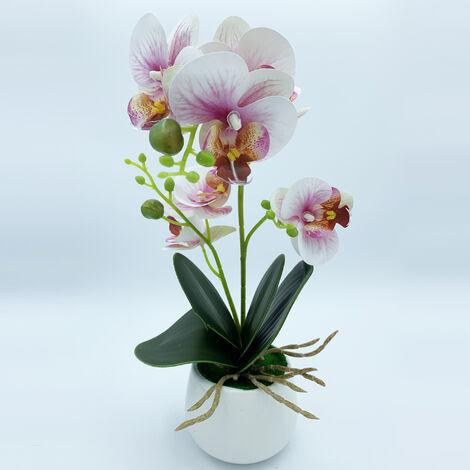 Planta de orquidea con tacto natural de 42 cm en color rosa con maceta de ceramica