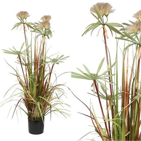 Planta de Papiro Dandelion Artificial. Realista de Tela. 130 Cm