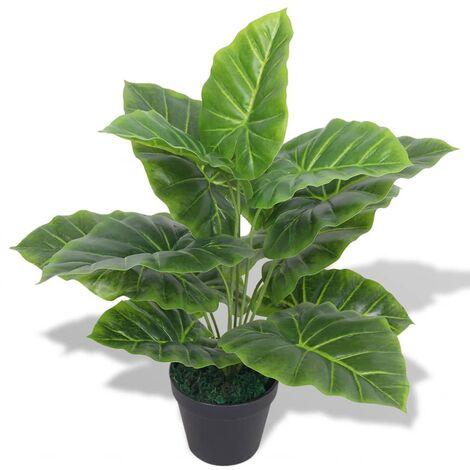 Planta de taro artificial con macetero verde 45 cm