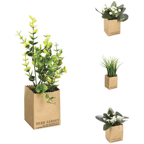 Planta Decorativa Con Maceta Papel 7X6.5X21Cm Modelos Surtidos - NEOFERR
