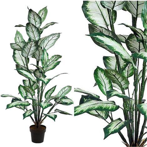 Planta Difembachea Artificial. Realista de Tela. 120 Cm