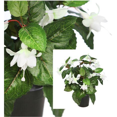 Planta Fuchsia Artificial. Pendientes de la Reina. Blanca. 35 Cm