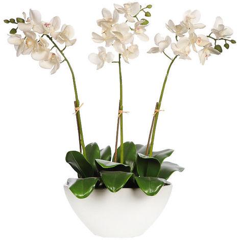 Planta Orquidea artificial. Maceta de cerámica. Realista Tacto Natural. 52,5 cm
