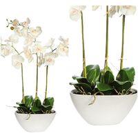 Planta Orquidea artificial. Maceta de cerámica. Realista Tacto Natural. 80 cm