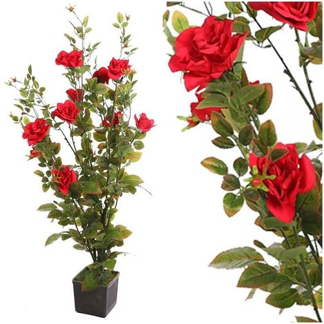 Planta Rosal artificial. Incluye maceta. Realista Tacto Natural. 140 cm