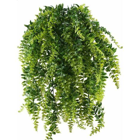 Plantas artificiales de helecho LITZEE Plantas colgantes Plantas verdes artificiales Plantas de plástico para balcón al aire libre Decoración de jardín de boda en maceta 2 uds