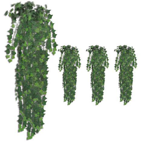Plantas artificiales de hiedra 4 unidades verde 90 cm