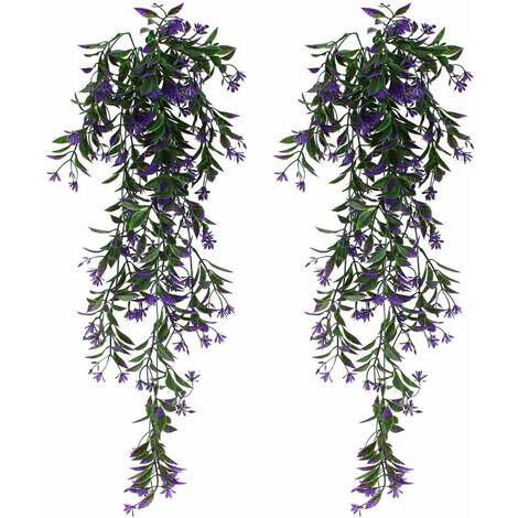 Plantas colgantes verdes artificiales de hiedra artificial de 2 piezas para celebración, boda, cocina, jardín, decoración de oficina, púrpura