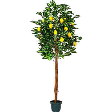 PLANTASIA® Zitronenbaum, Kunstpflanze, Kunstbaum, 184cm