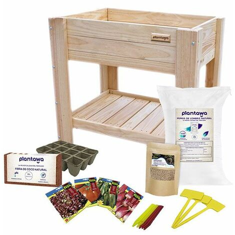 PLANTAWA Kit Cultivo Completo XL, Kit con Mesa para Jardín, Uso de Huerto Urbano, Mesa de Cultivo 88 x 76 x 48 cm