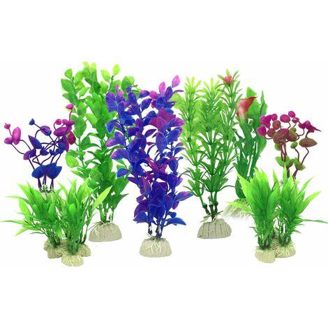 Plante Aquarium Artificiel, 16 Pièces Petit Taille Aquarium Decoration Cachette Plastique en Plastique Décoration, Violet et Vert