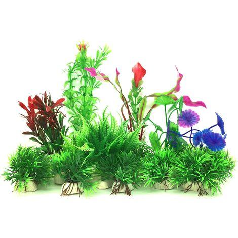 Plante Aquarium Artificiel,16 Pièces Petit Taille Aquarium Decoration Cachette Plastique en Plastique Décoration, Plastique pour Décoration d'aquarium