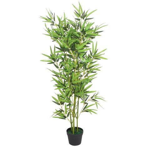 Plante artificielle avec pot bambou 120 cm vert - vert