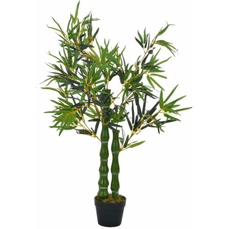 Plante artificielle avec pot bambou vert décoration intérieur 110 cm - or