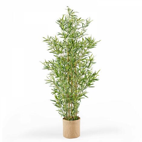 Plante artificielle, Bambou avec pot, feuilles en tissu, hauteur 170 cm Oïko