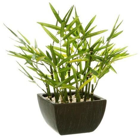 Plante Artificielle en Pot Bambou 35cm Noir