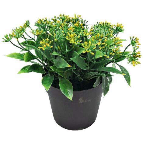 Plante artificielle fleur artificielle petite feuille bois de santal rouge coloration en pot bonsaï simulation plante waterweed fleur décoration de la maison bonsaï simulation (jaune)