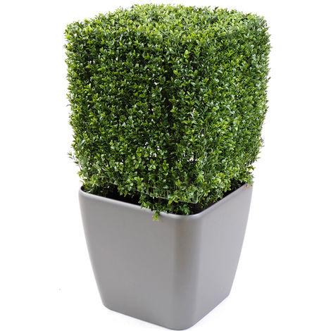 Plante artificielle haute gamme Spécial extérieur, Buis carré artificiel couleur vert - Dim : 50 x 32 x 32 cm