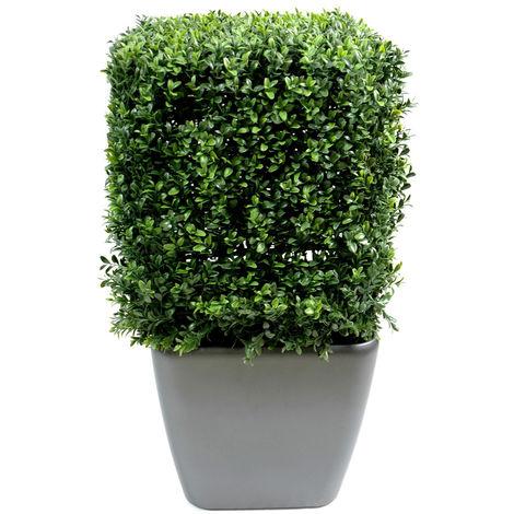 Plante artificielle haute gamme Spécial extérieur, Buis carré artificiel couleur vert - Dim : 65 x 40 x 40 cm