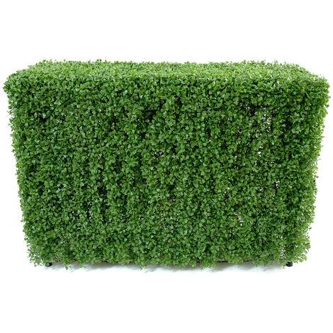 Plante artificielle haute gamme Spécial extérieur / Buis Haie artificiel coloris vert - Dim : 90 x 35 x 120 cm