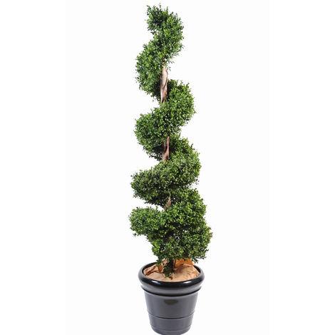 Plante artificielle haute gamme Spécial extérieur / Buis spirale artificiel - Dim : 180 x 40 cm