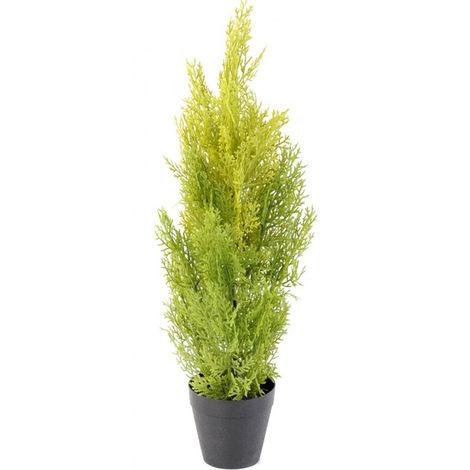 Plante artificielle haute gamme Spécial extérieur / Cyprès artificiel coloris vert/jaune - Dim : 60 x 20 cm