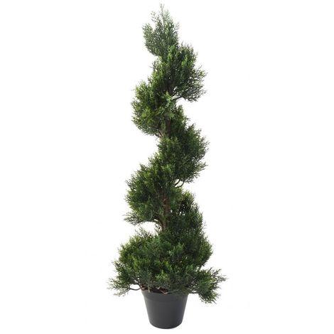 Plante artificielle haute gamme Spécial extérieur / Cyprès Artificiel Forme Spirale - Dim : 125 x 40 cm