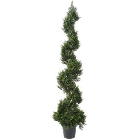 Plante artificielle haute gamme Spécial extérieur / Cyprès Artificiel Forme Spirale - Dim : 180 x 45 cm