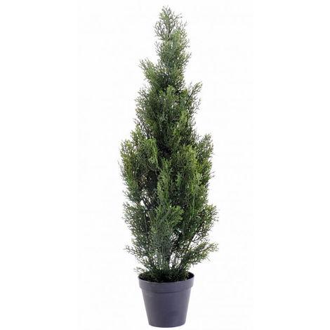 Plante artificielle haute gamme Spécial extérieur / Cyprès artificiel Mini Vert - Dim : 93 x 25 cm
