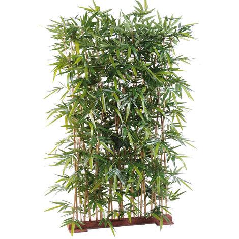 Plante artificielle haute gamme Spécial extérieur/ Haie artificielle Bambou, coloris vert - Dim : 185 x 50 x 120 cm