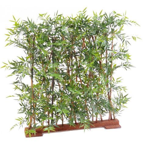 Plante artificielle haute gamme Spécial extérieur/ Haie Bambou artificiel coloris vert - Dim : 110 x 45 x 110 cm