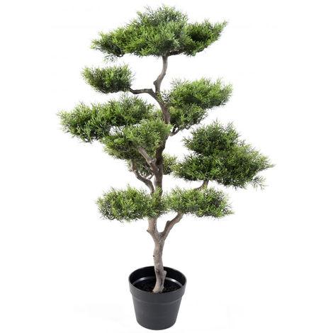 Plante artificielle haute gamme Spécial extérieur / PIN artificiel BONSAI - Dim : 95 x 60 cm -PEGANE-