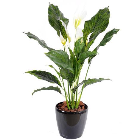 Plante artificielle haute gamme Spécial extérieur / SPATHIPHYLLUM Artificiel - Dim : 80 x 50 cm -PEGANE-