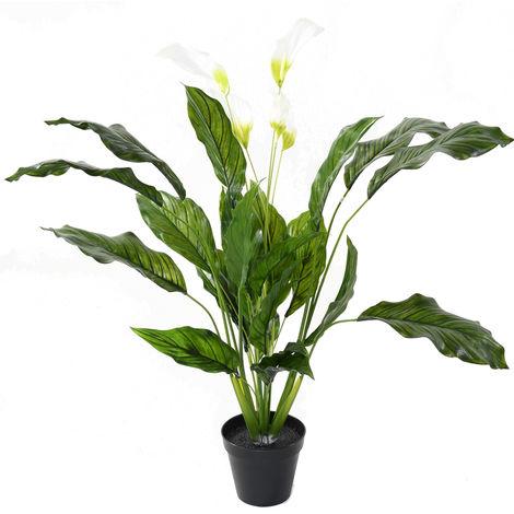 Plante artificielle haute gamme Spécial extérieur / SPATHIPHYLLUM Artificiel - Dim : 90 x 80 cm -PEGANE-