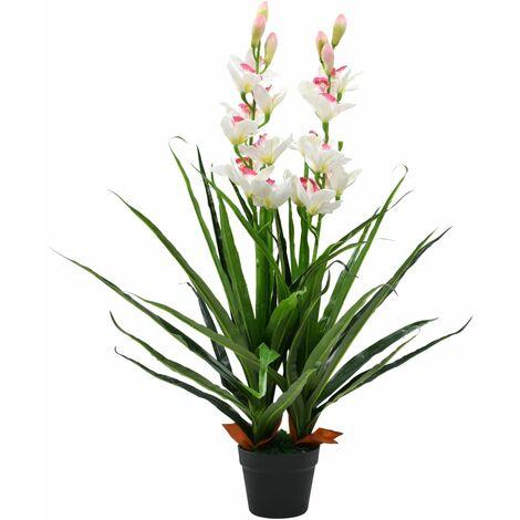 Plante artificielle Orchidée Cymbidium avec pot 100 cm Vert